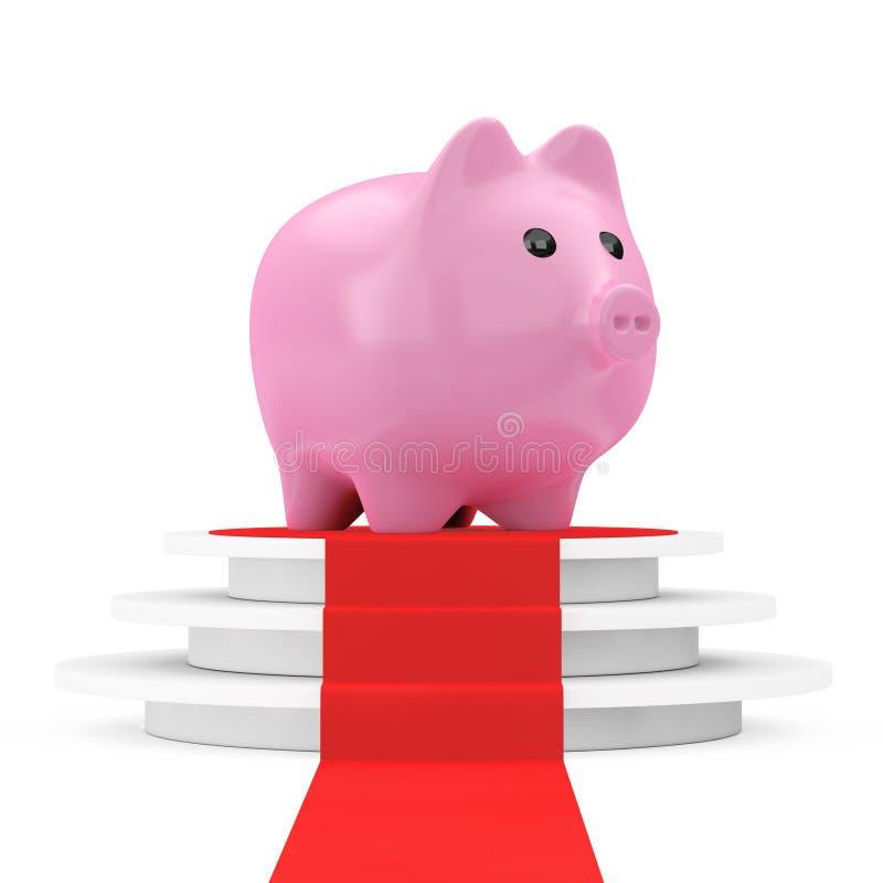 Excepto o conceito do dinheiro Mealheiro sobre o pódio do vencedor com Carpe vermelho ilustração do vetor