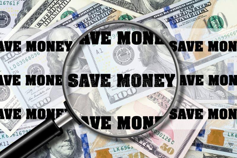 Excepto o dinheiro Vista através de uma lupa na inscrição no fundo das notas de dólar Finança do negócio imagem de stock