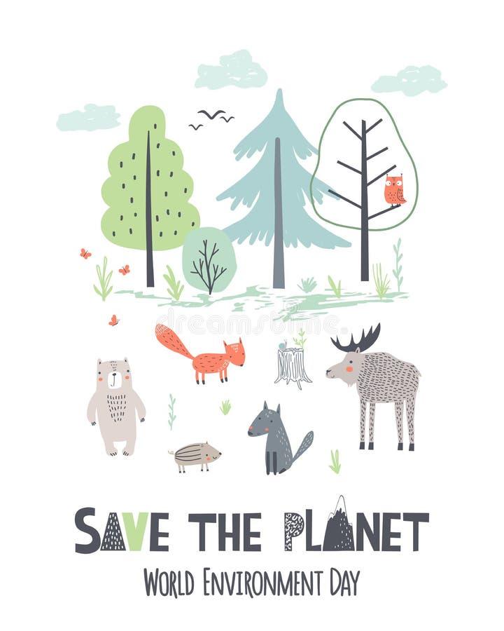 Excepto o planeta Ilustra??o do vetor da tra??o da m?o do Dia da Terra ilustração stock