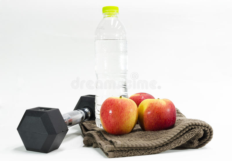 Excercise and drinking water stock photography