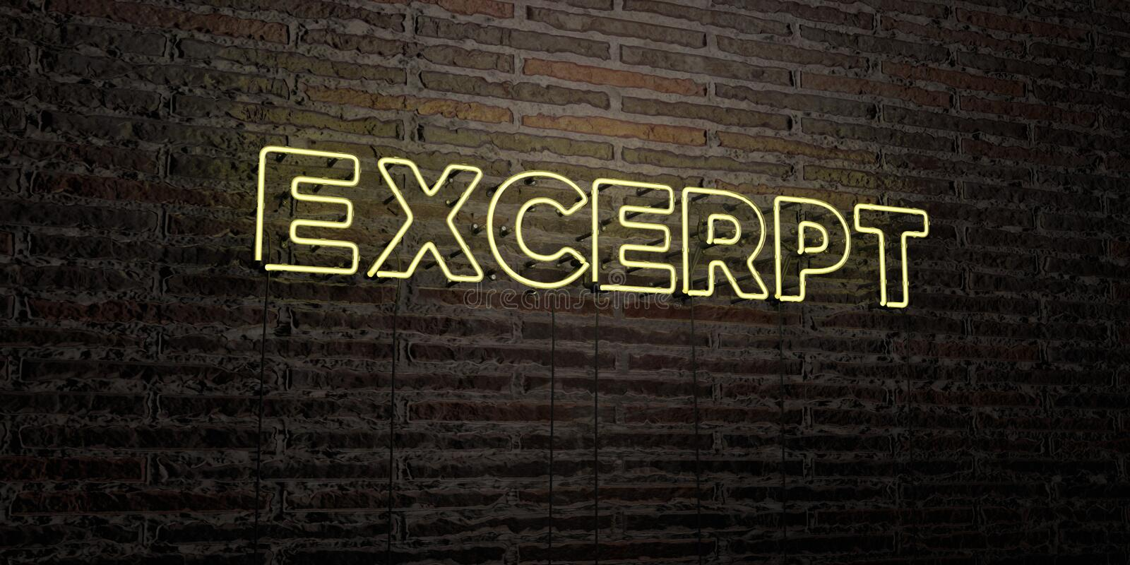 EXCERPT -Realistic Neon Sign on Brick Wall background - 3D rendered royalty free stock image. Can be used for online banner ads and direct mailers royalty free illustration