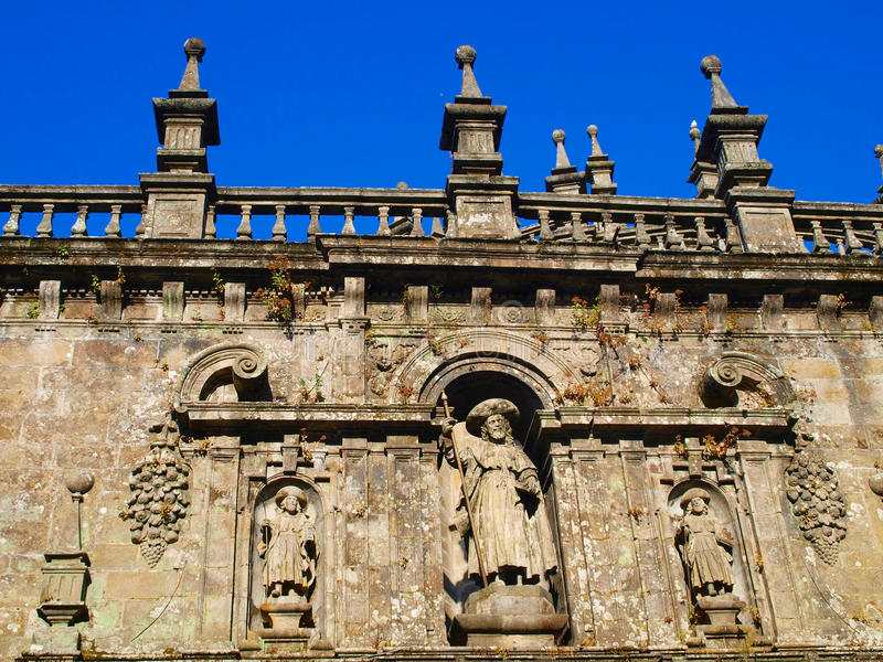 Excerpt from the wall the Cathedral. Decorative piece of wall above the entrance to the Cathedral of St. James in Santiago de Compostela in Spain stock image