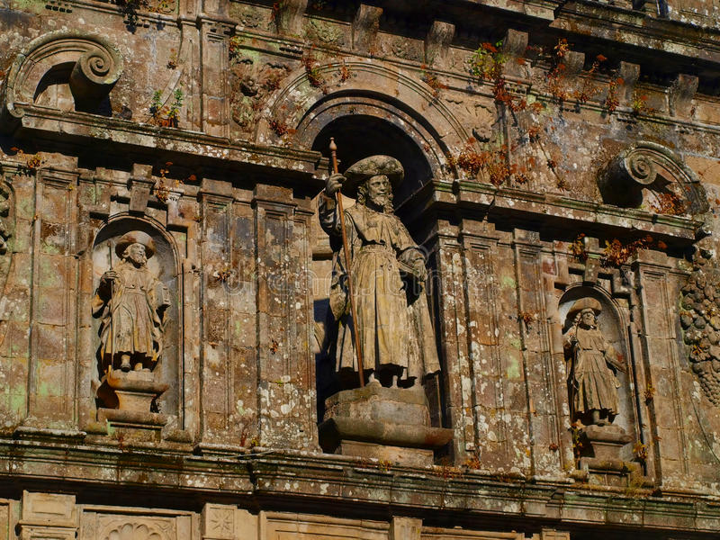Excerpt from the wall the Cathedral in San. Decorative piece of wall above the entrance to the Cathedral of St. James in Santiago de Compostela in Spain stock photos