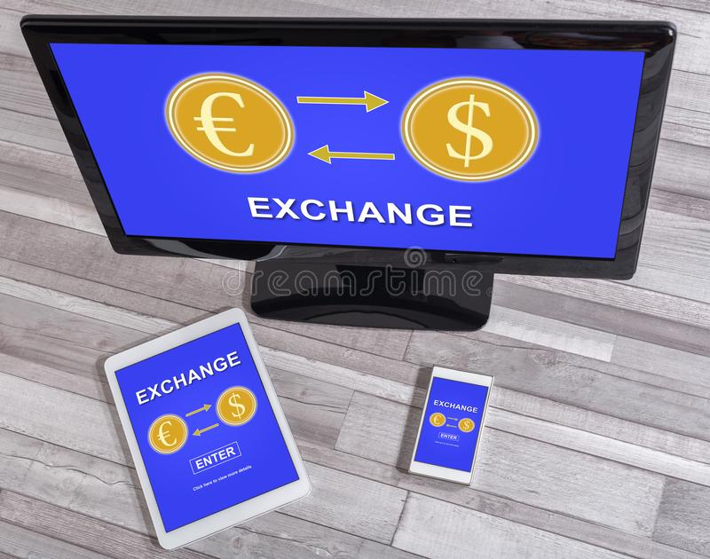 Exchange concept on different devices. Exchange concept shown on different information technology devices stock photo