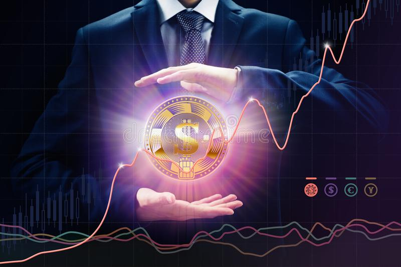 Exchange crypto currency concepts, sales and purchase, growth rate, bit E-commerce coin stock image