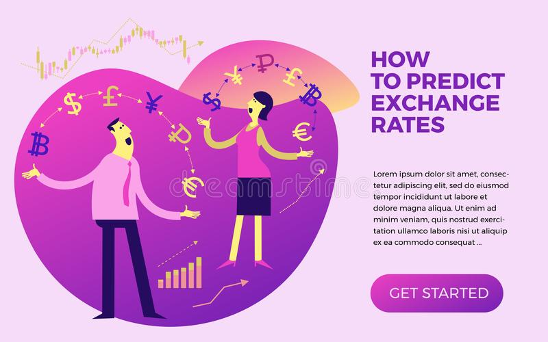 Exchange of currency. Business infographics with illustrations of business situations. Illustration of a cheerful businesswoman j royalty free illustration