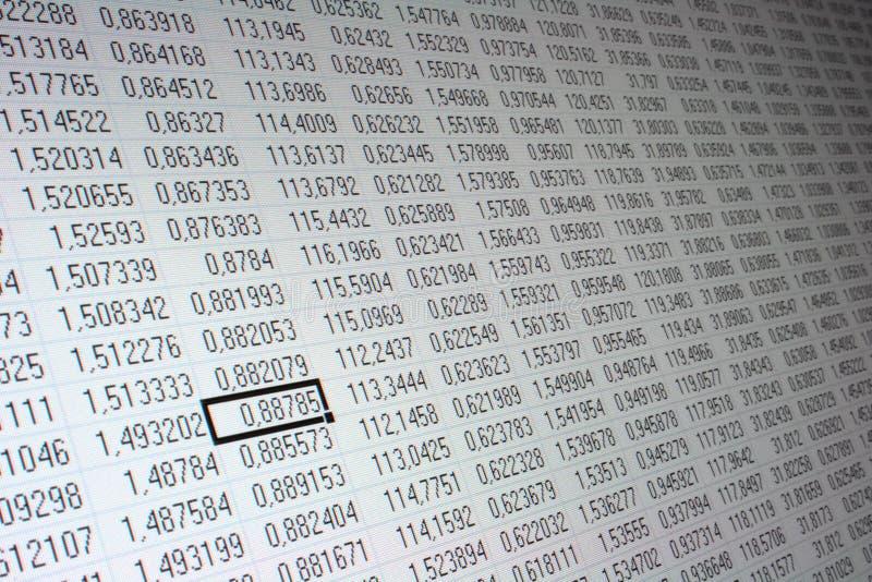 Exchange data table royalty free stock image