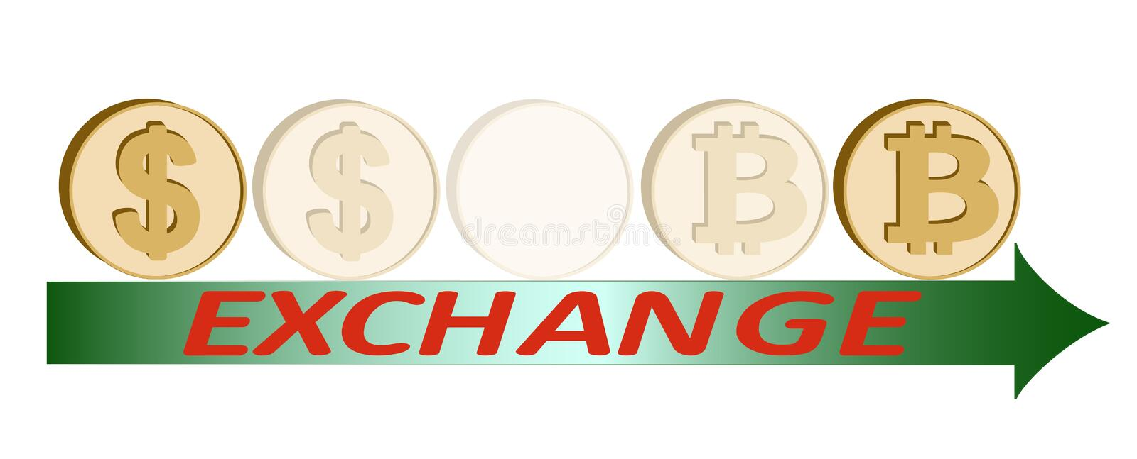Exchange dollar to bitcoin coin ,design concept royalty free illustration