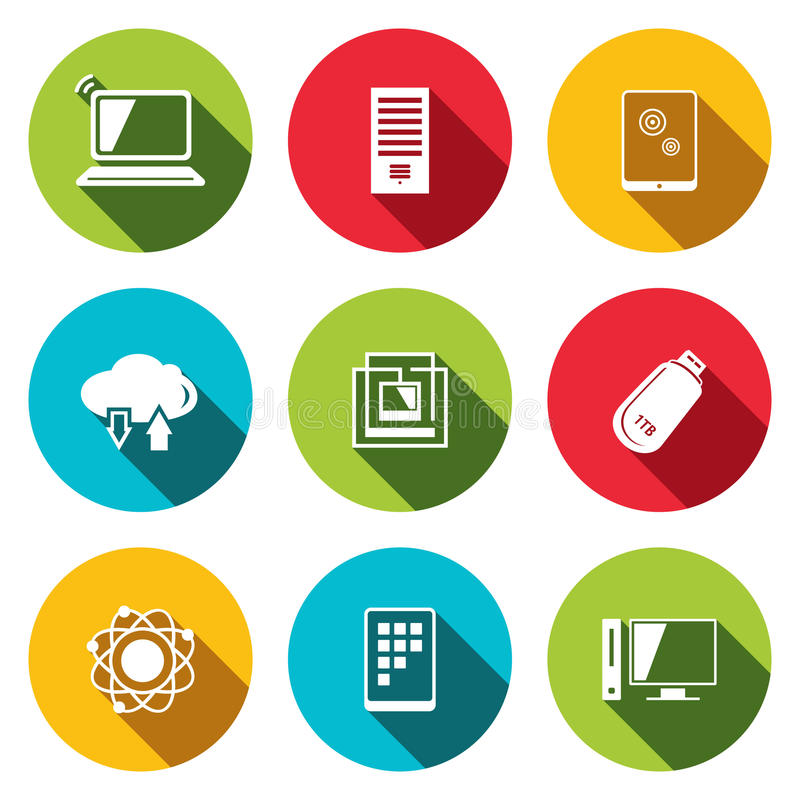 Exchange of information technology flat icons set. Technology icon collection on a colored background vector illustration