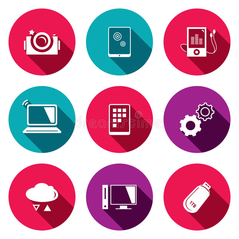 Exchange of information technology flat icons set. Technology icon collection on a colored background stock illustration