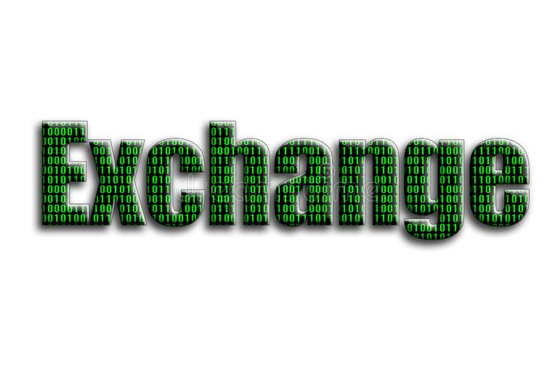 Exchange. The inscription has a texture of the photography, which depicts the green binary code stock illustration