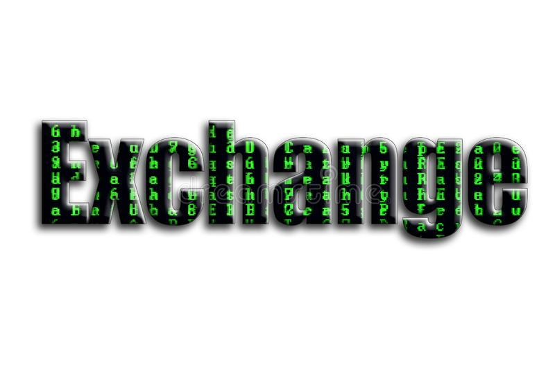 Exchange. The inscription has a texture of the photography, which depicts the green glitch symbols vector illustration