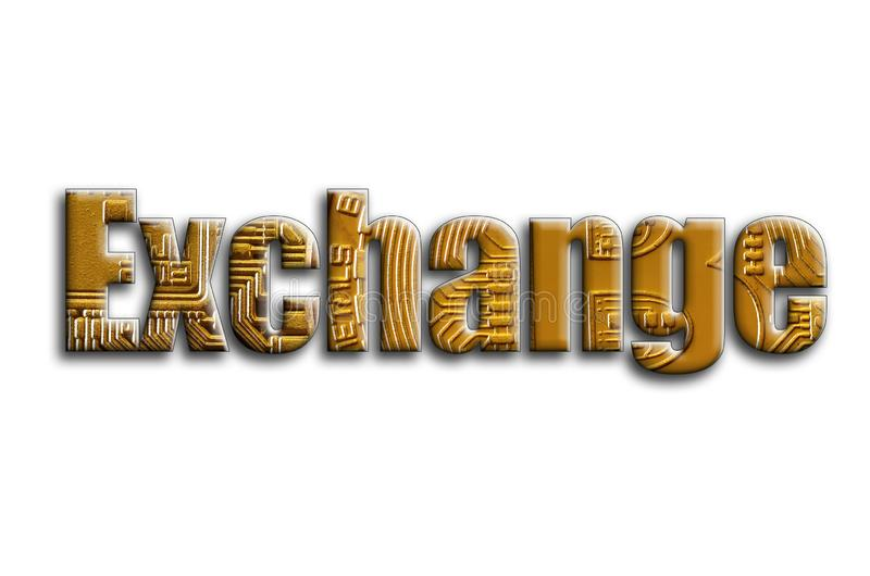 Exchange. The inscription has a texture of the photography, which depicts several bitcoins vector illustration