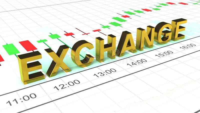 Exchange. Location of the inscription on the graph. royalty free illustration