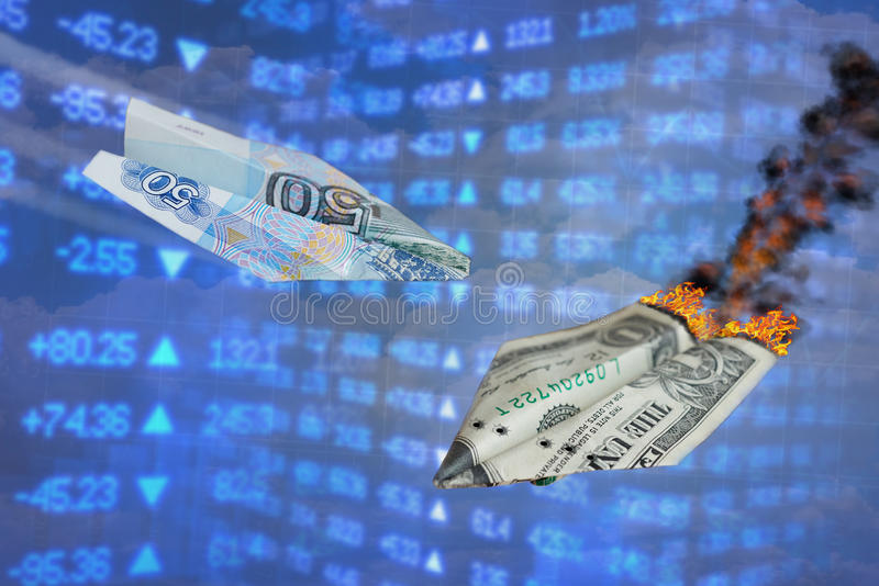 Exchange rate illustration. Strong ruble rate hits dollar like one war paper plane hits another. Ruble vs dollar. Russian rouble g royalty free stock photos