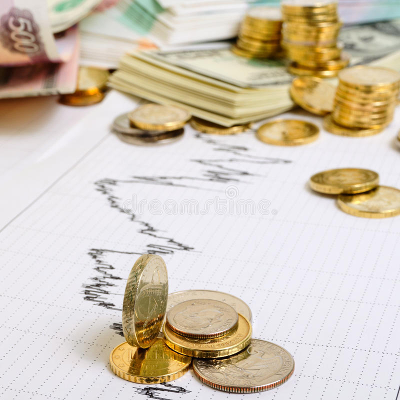 Exchange Rates. Financial and economic news and forecasts royalty free stock image