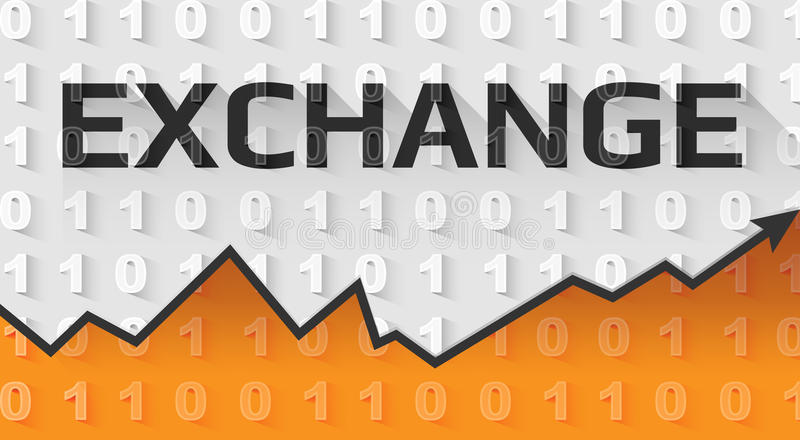 Exchange text banner. On gray and orange background in binary code style. Suitable for all crypto currencies, finance, security and computer topics stock illustration