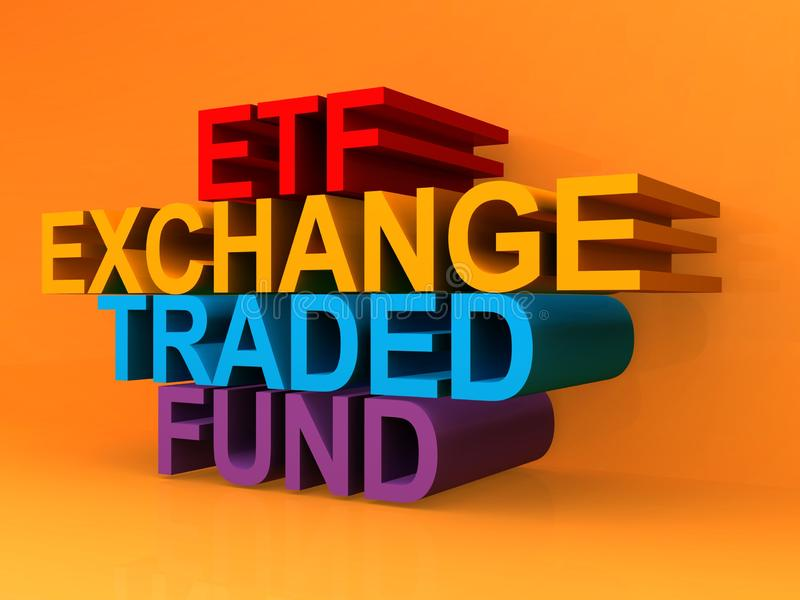 Exchange traded fund. Words on orange background vector illustration