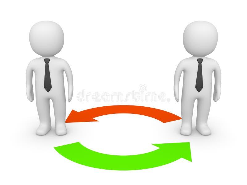 Exchange between two 3d businessmen royalty free stock image