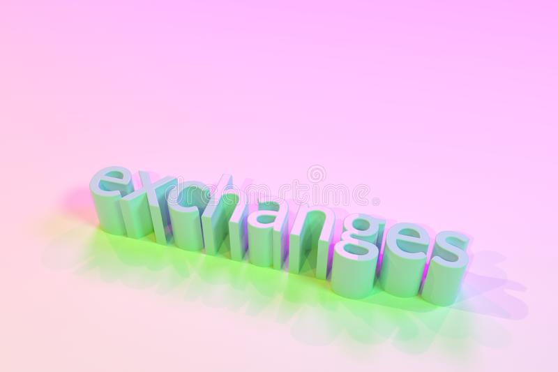 Exchanges, decorative, illustrations typography, CGI keywords, for design texture background. 3D rendering. Exchanges, 3D rendering. Keywords, CGI, typography royalty free illustration