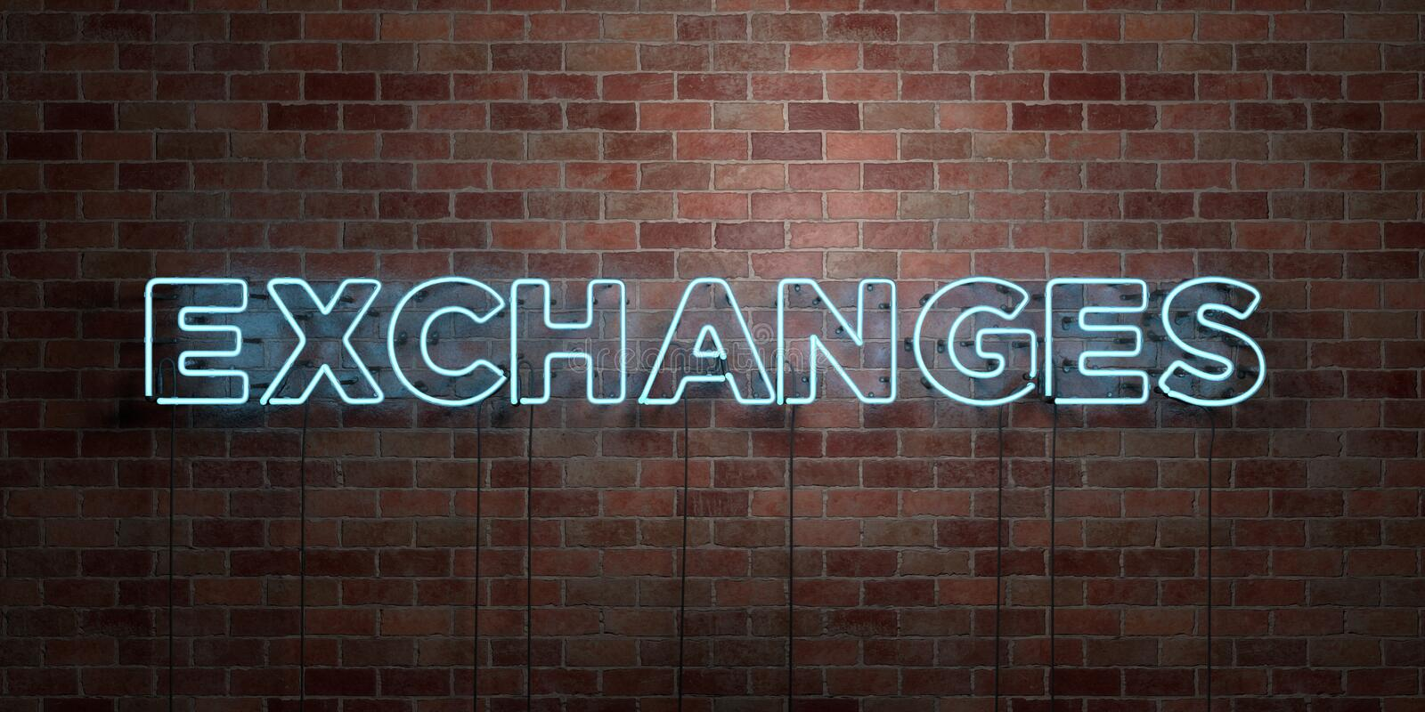 EXCHANGES - fluorescent Neon tube Sign on brickwork - Front view - 3D rendered royalty free stock picture. Can be used for online banner ads and direct mailers vector illustration
