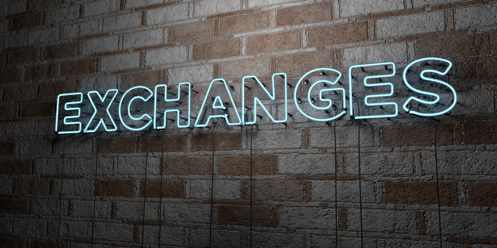 EXCHANGES - Glowing Neon Sign on stonework wall - 3D rendered royalty free stock illustration. Can be used for online banner ads and direct mailers royalty free illustration