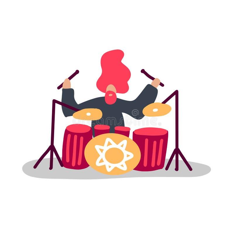 Excitado tambor que juega música de rock duro con pegamento en tambores Personaje de música infantil interpretando en escena con  libre illustration
