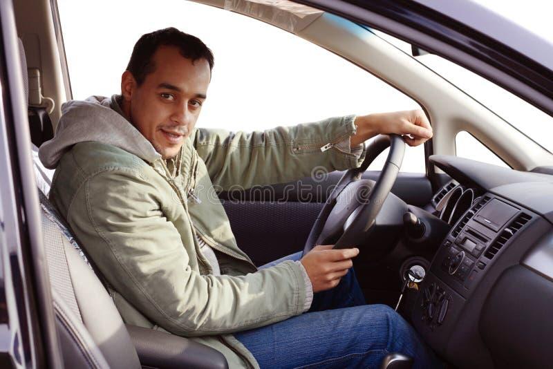 Excitador em seu carro novo imagens de stock royalty free