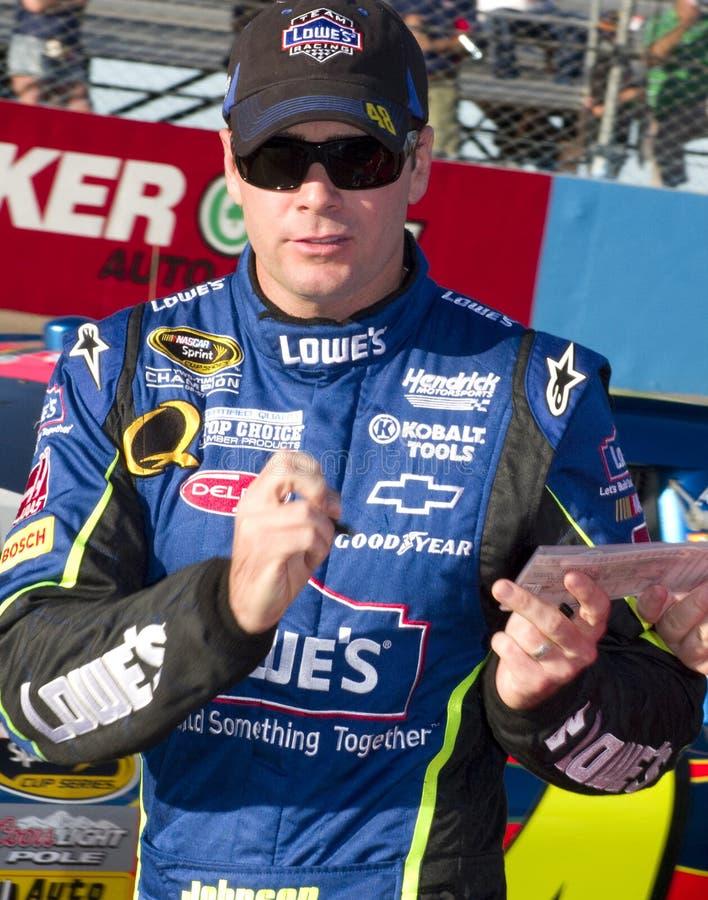 Excitador Jimmie Johnson do copo de NASCAR imagens de stock royalty free