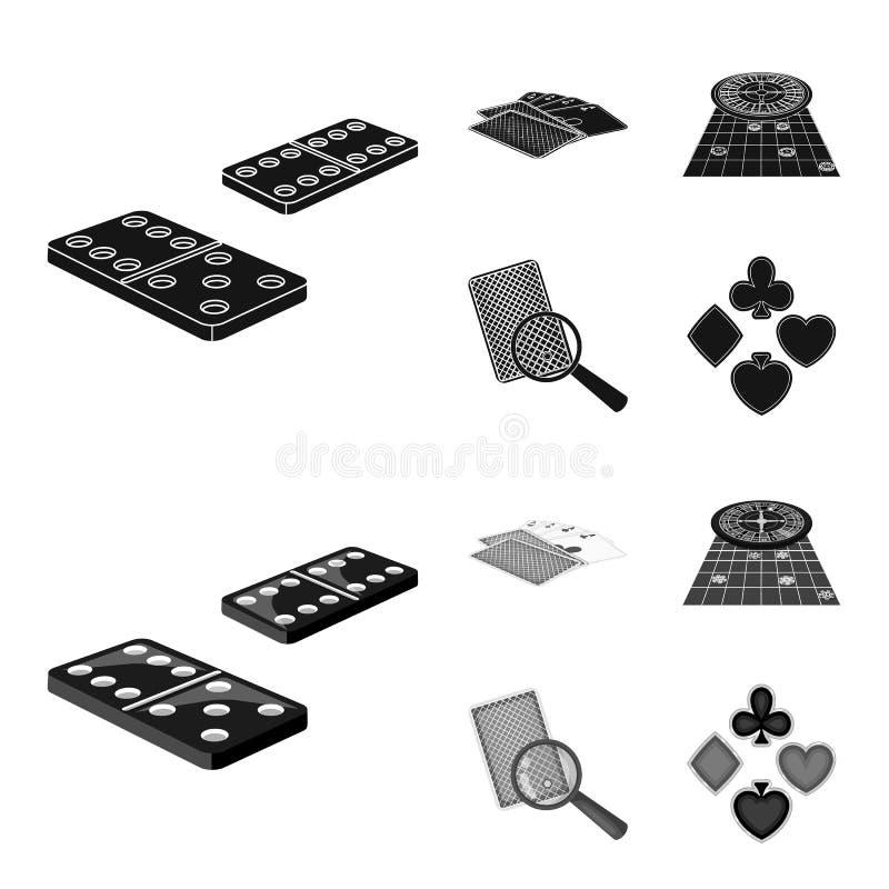 Excitation, casino, jeu et toute autre icône de Web dans le noir, loupe de style de monochrom, trichant, divertissement, icônes d illustration de vecteur