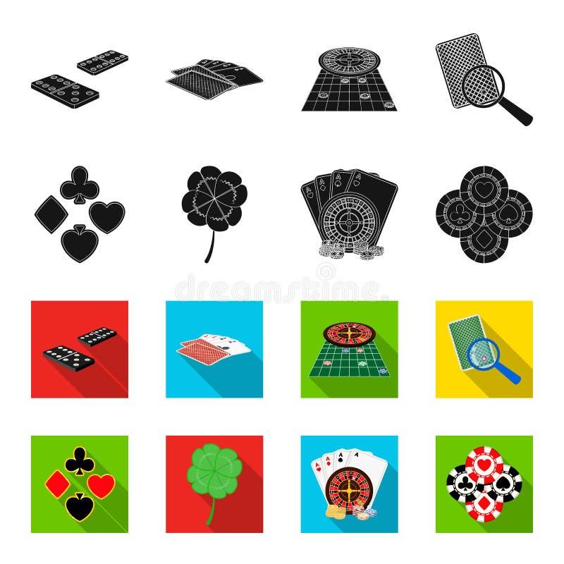 Excitation, casino, jeu et toute autre icône de Web dans le noir, style de flet Fraude, divertissement, récréation, icônes dans l illustration stock