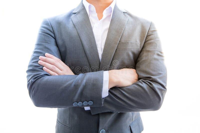 Excitation de support d'homme d'affaires il a la pose futée et il est des affaires images libres de droits