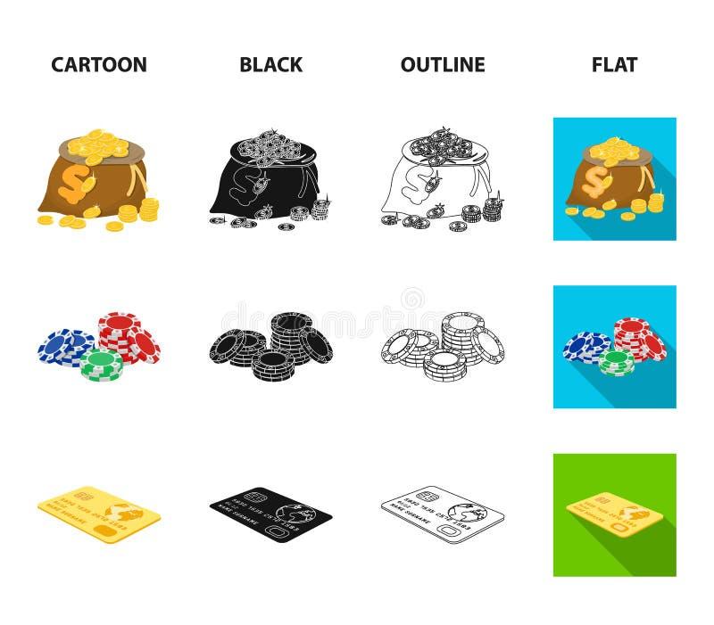 Excitation, récréation, passe-temps et toute autre icône de Web dans la bande dessinée, noir, contour, style plat Casino, établis illustration libre de droits