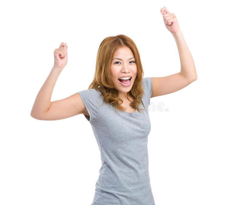 Excite woman raise hand up. Isolated on white background stock images