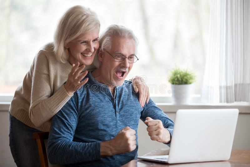 Excited åldrig fru och make som ser på datorskärmen arkivbilder