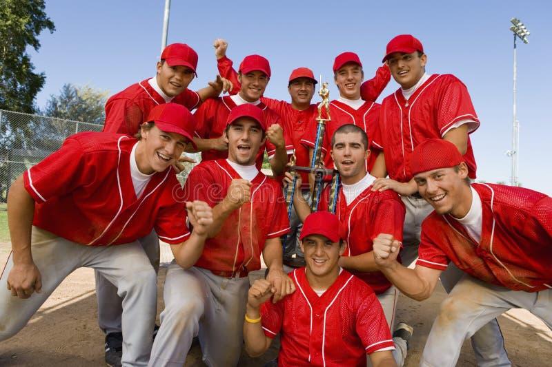 Excited бейсбольная команда стоковое изображение rf