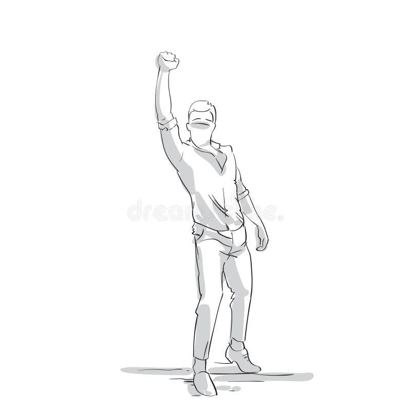 Excited бизнесмен держа мужчины силуэта руки Riased полнометражного, бизнесмена Skecth на белой предпосылке иллюстрация вектора