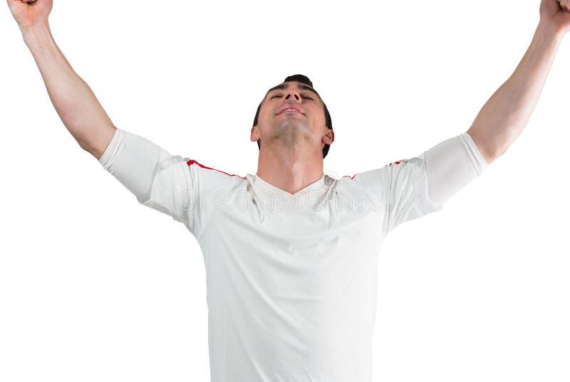 Excited веселить футбольного болельщика стоковые фото