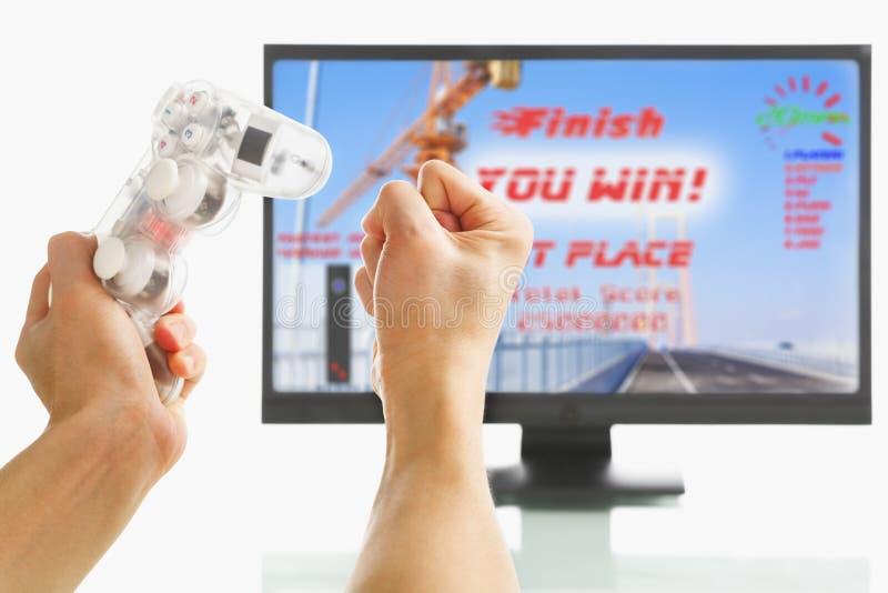excited выигрывать игры стоковое изображение rf