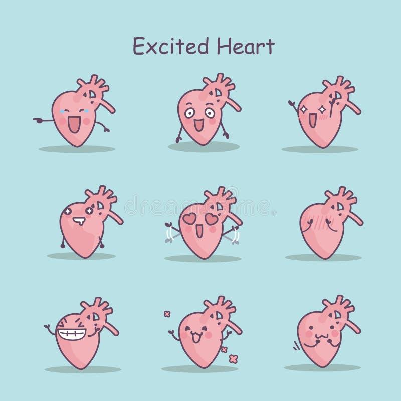Excited комплект сердца шаржа иллюстрация штока