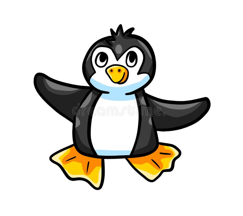 Excited маленький прелестный черный пингвин бесплатная иллюстрация