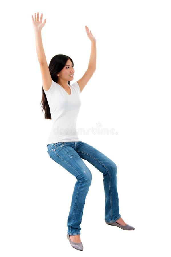 Excited молодая азиатская девушка стоковые фотографии rf