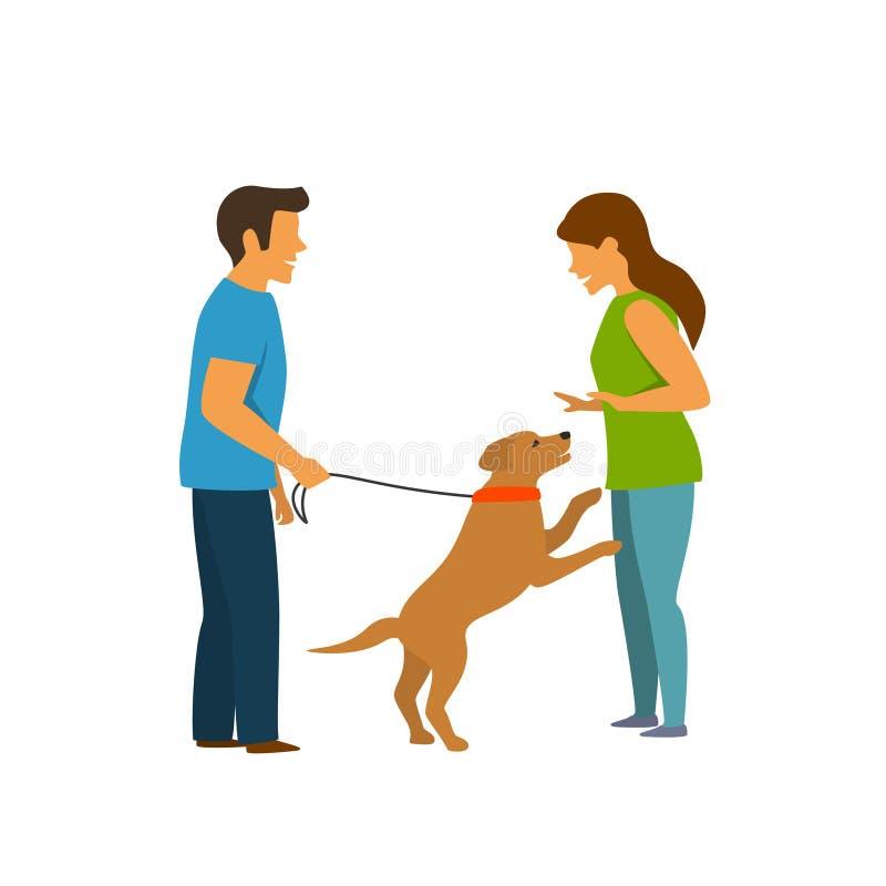 Excited собака скача на людей, график тренировки любимчика повиновению иллюстрация вектора