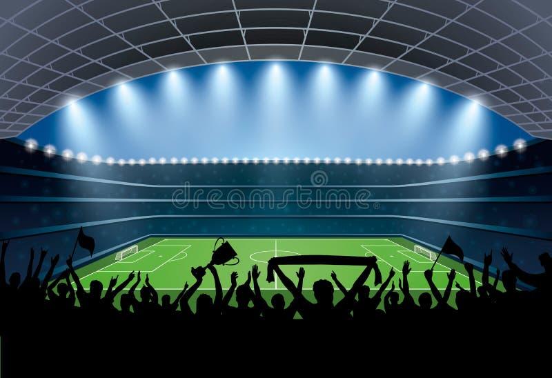 Excited толпа людей на футбольном стадионе Футбольный стадион иллюстрация штока