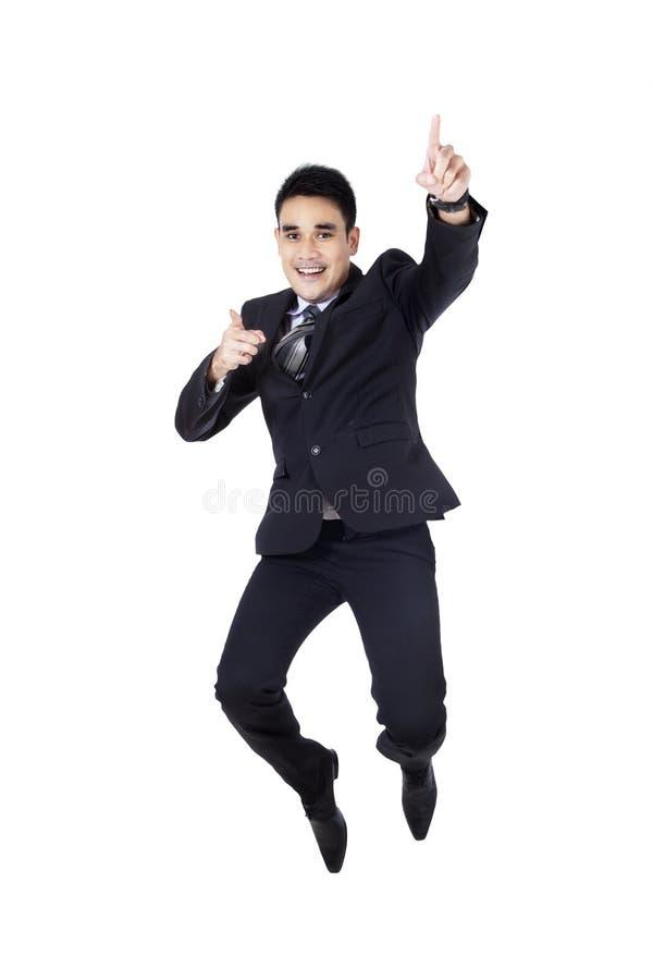 Excited успех торжества бизнесмена стоковое изображение