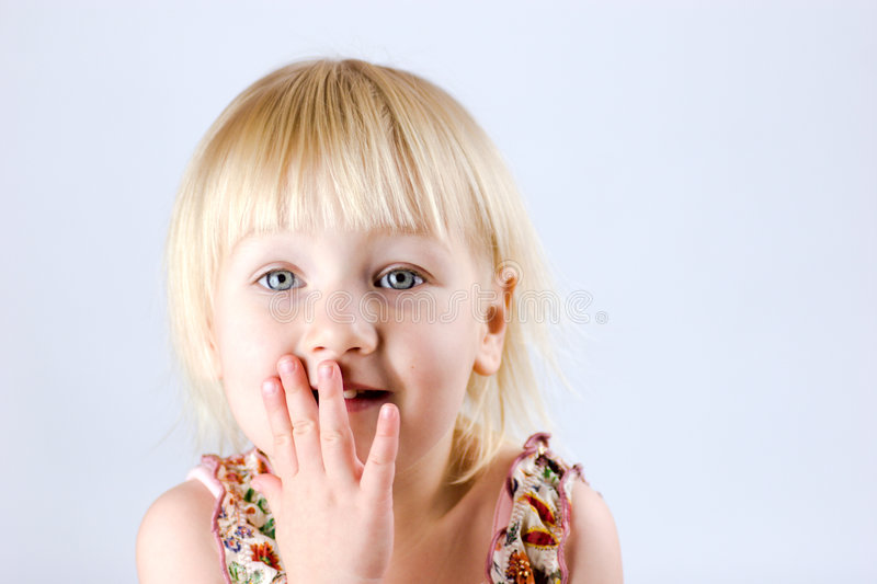 Download Excited 2 years old girl stock image. Image of hand, lips - 3624419