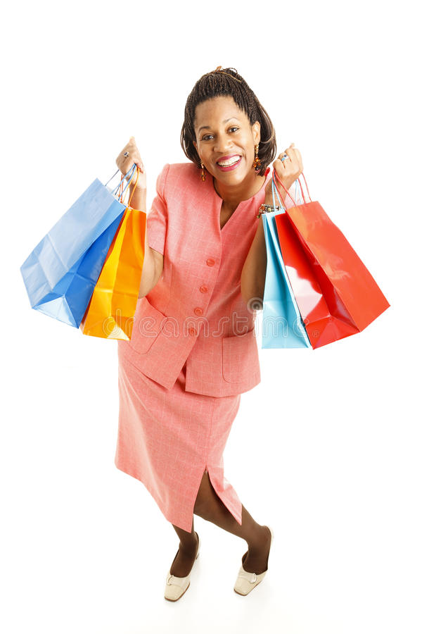Excited African-American Shopper stock photography