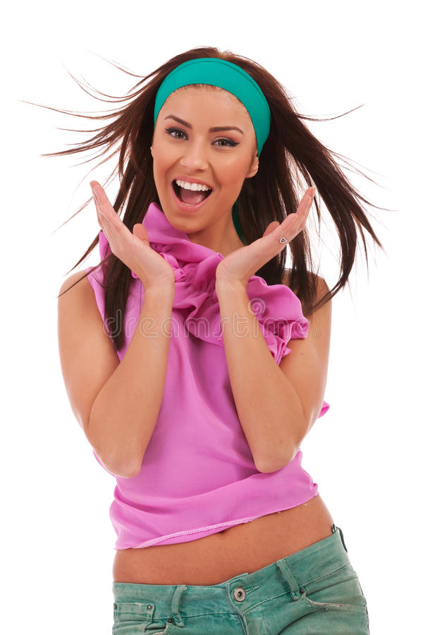 Excited And Amazed Young Woman Stock Photos