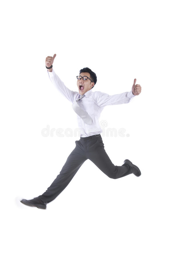 Download Excited Asian Businessman Jumping Stock Photo - Image: 22225262