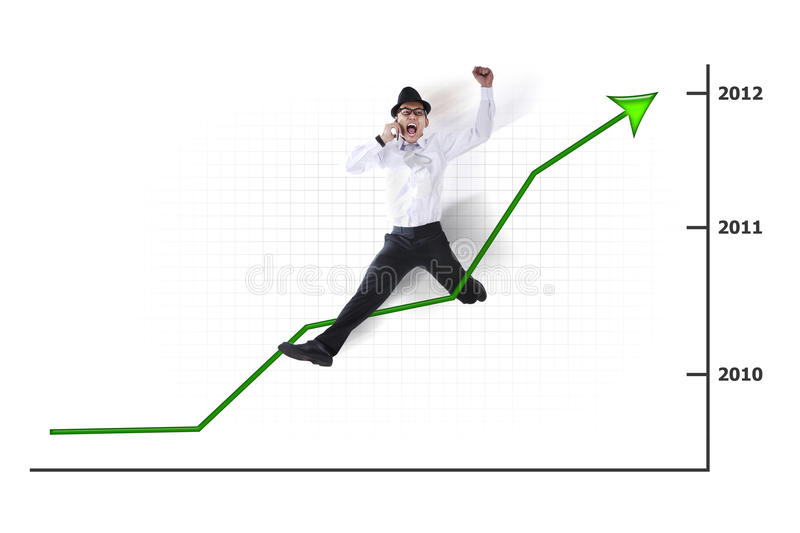 Download Excited Asian Businessman Jumping With Chart Stock Image - Image: 22283027